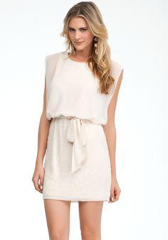 Sheer Top Beaded Skirt Dress -.