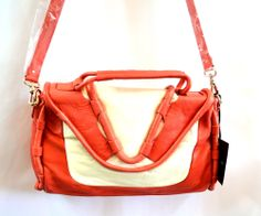 CYNTHIA ROWLEY Leather Crossbody Calloway Orange/Coral/White Handbag $330