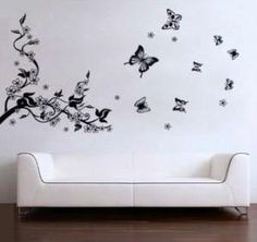 Mordern House Removable Decal Sticker - Plum Blossom Tree Branch and Flying Butterflies