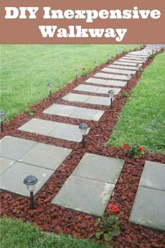 diy inexpensive walkway with lava rock pavers and solar lights add home garden ideas rocks
