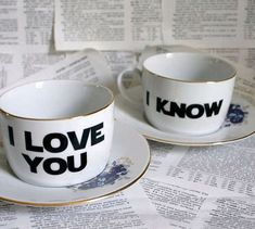 """""""I love you."""" """"I know"""" best coffee cups ever. Star Wars tea or coffee cups. Coffee Cups, Tea Cups, Coffee Coffee, Coffee Signs, Coffee Shop, Ritual Coffee, Coffee Menu, Cappuccino Cups, Drink Coffee"""