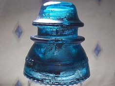 "GARDEN HEMINGRAY INSULATOR BLUE #42 USA PATINA GLASS 4"" 1921-60 VINTAGE ANTIQUE"