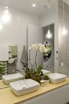 Modern bathroom pendant lighting by the block glasshouse apartment 6 week 1 Bathroom Pendant Lighting, Contemporary Bathroom Lighting, Bathroom Lighting Design, Bathroom Light Fixtures, Bathroom Wall Decor, Pendant Lights, Pendant Lamps, Bathroom Ideas, Cozy Bathroom