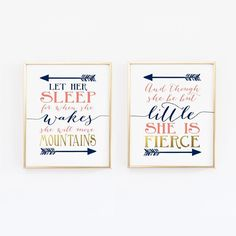 Nursery Print Set - Fierce Mountains Shakespeare And though she be but little - Let her sleep Prints wall art poster Navy Gold Coral by wallandwonder USD) Coral Nursery, Nursery Prints, Nursery Wall Art, Wall Art Prints, Nursery Ideas, Nursery Room, Baby Room, Twin Room, Nursery Quotes