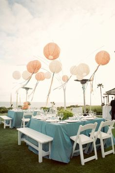 Outdoor Wedding Tables with Pink Lanterns
