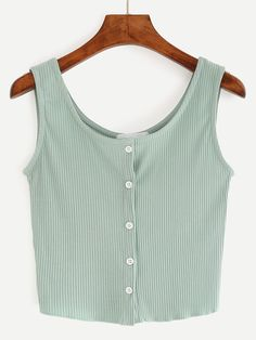 Buttoned Front Ribbed Knit Crop Tank Top - GreenFor Women-romwe