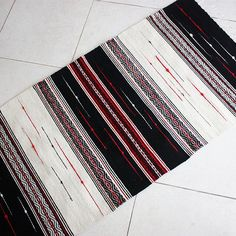 New Handwoven Black, White and Red Rug ~ Unique handmade rug for your home decor ~ Contemporary design wool rug ~ Living room rug Ethno Style, Weaving Projects, Red Accents, White Rug, Red Rugs, Sheep Wool, Woven Rug, Decoration, Hand Weaving