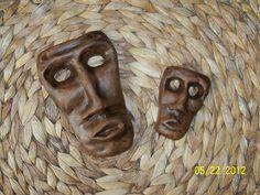 """Maschere in terracotta ispirate all'antica tradizione della Sardegna """"Mamuthones"""", realizzate a mano dalle """"Mani Magiche"""" www.lemanimagiche.it"""