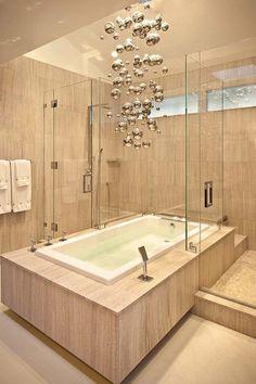 modern large chandelier metallic baubles minimalist bathroom design ideas