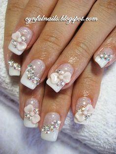 Cynful Nails: Bridal nails. Pink frills and mini bows!
