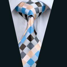 Men`s Tie Silk Plaid Jacquard Woven Necktie Gravata For Formal Wedding Party Business