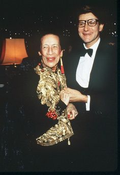 Diana Vreeland with Yves Saint Laurent in 1982