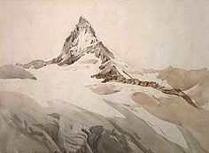 Photo of a painting of a snow-covered mountain