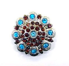 Topaz & Turquoise Rhinestone Silver Berry Concho For Leather BeltsBootsBling.com - $6.95