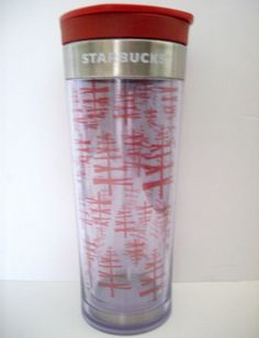 Starbucks 2009 COFFEE Travel Cup 12oz Christmas Stainless Steel Trim Commuter