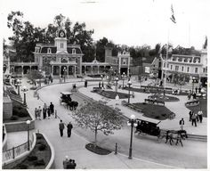 """Vintage Disneyland Tickets: Disneyland's """"Town Square"""" - January Look how small the trees are. Disneyland History, Disneyland Main Street, Disneyland Tickets, Disneyland Photos, Disneyland California, Vintage Disneyland, Disneyland Resort, Disneyland Paris, Anaheim California"""
