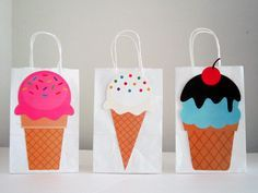 Ice Cream Party Favor, Goody, Gift Bags by CraftyCue on Etsy https://www.etsy.com/listing/195919561/ice-cream-party-favor-goody-gift-bags