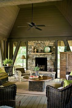 Durable wicker seating, sisal rugs, and cotton fabrics mean minimal worry and upkeep.    Source Guide Brown wicker furniture: For a similar look, try Anacara Mariner All-Weather Wicker Patio Conversation Set