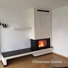 Chimenea Quento modelo Frank angular. | www.quento.es Showro… | Flickr Fireplace Tv Wall, Modern Fireplace, Interior Design Living Room, Living Room Designs, Scandinavian Fireplace, Contemporary Fireplace Designs, Building A House, Home Furniture, House Design