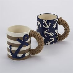 2 styles. Ceramic nautical mugs feature hand-painted texture and real rope wrapped handles.