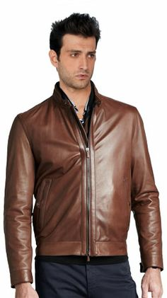 Classic Leather Bomber with Structured Hemline
