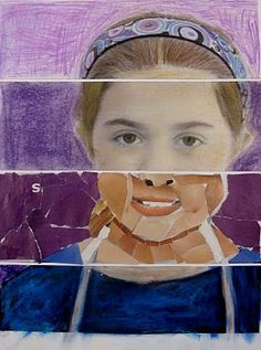 The ArtRoom Cut digital portrait printed on paper into fourths (squares or rectangles) then decorate each fourth with a different medium. Tempera, Chalk Pastel, Oil Pastel, Color Pencil and Collage