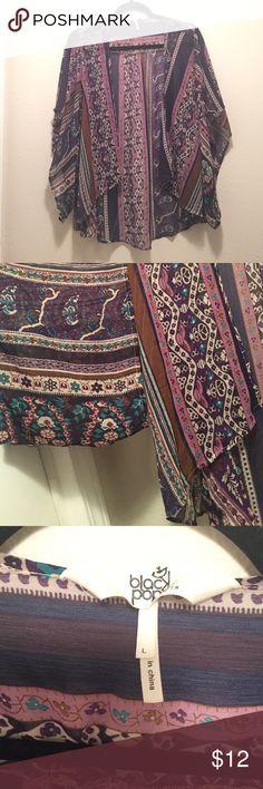 Boho Kimono Purple bohemian style kimono. Excellent condition. Size L. Chiffon. Black Poppy Sweaters Cardigans