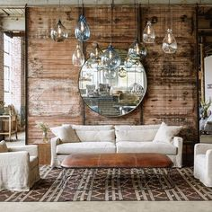 Grandeur and finesse in the Malibu collection #ciscobrothers #highpointmarket #sustainableliving #leatherottoman #lightingcluster #handblownglass
