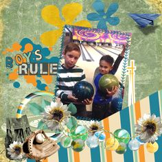 Digital Scrapbooking Layouts in Gimp: Boy's World Remake - We show you how to create this fantastic digital scrapbooking layouts step by step