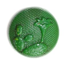 Button / Glass Green  / Pictorial  / Vintage  / Small by KPHoppe on Etsy