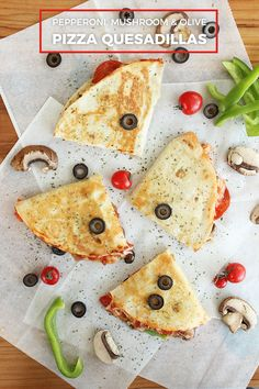 """Pepperoni, black olive, and mushroom pizza quesadillas are wildly delicious and easy to make! The perfect """"lazy Dinner"""" or after school snack.    #Quesadillas #KidFriendlyFood #EasyDinner Pizza Quesadilla, Eat Pizza, Quesadillas, Wildly Delicious, Easy Delicious Recipes, Yummy Food, Olive Pizza, Pepperoni Recipes, Mushroom Pizza"""