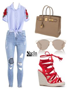 """SHEIN Blouse"" by tania-alves ❤ liked on Polyvore featuring Christian Dior and Hermès"