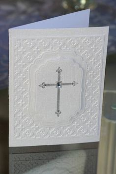 First Communion by duviness - Cards and Paper Crafts at Splitcoaststampers Papertrey ink, Everyday Blessings, Silver EP, Cuttlebug EF: Moraccan First Communion Cards, First Communion Invitations, First Holy Communion, Confirmation Cards, Baptism Cards, Kids Cards, Baby Cards, Scrapbook Cards, Scrapbooking