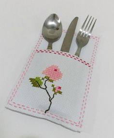 Shabby Chic Pocket, Cutlery Holder, Multiple Use, Cross Stitch, Made to Order