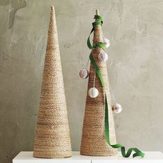 Twine Christmas tree tutorial. This would give a nice height as part of a mantle display.