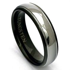 Black Ion Plated High Polished Design Center Comfort Fit Tungsten Carbide Anniversary Ring Mens 8mm 2 Tone Pipe Cut Stepped Edge Wedding Band