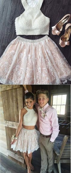 2017 short prom dress homecoming dress, two piece prom dress, white short prom dress