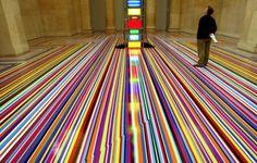 via Vinyl tape floor installations by Jim Lambie (http://myampgoesto11.tumblr.com/post/23687959641/vinyl-tape-floor-installations-by-jim-lambie)