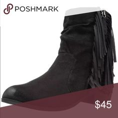 Gorgeous Black Vegan Fringed Ankle Boot! NIB! Black faux leather. So adorable! More coming soon! Shoes Ankle Boots & Booties