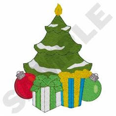 Christmas Tree Candle Embroidery Design | AnnTheGran