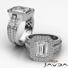 Exquisite Emerald Diamond Engagement Pave Ring GIA G VS2 14k White Gold 2.62 ct #Javda #SolitairewithAccents