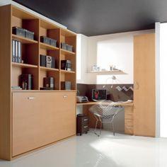 cama abatible con libreria 35 - cama plegable horizontal