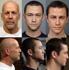 Gordon-Levitt was made to resemble Willis by adding prosthetics to his nose and lips, realigning his eyebrows, lowering his ears, and having him wear green contact lenses. Interesting article about Tsuji Kazuhiro, the make up artist for Looper.