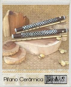 Pifano de cerâmica e bag de pvc revestida de couro trançado