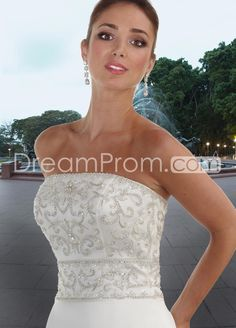 US $215.09 Spectacular A-Line/Princess Strapless Chapel Embroidery Satin Bridal Gowns (3AA0523)