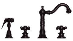 BUY ONLINE Whitehaus WHVEGCR3-886 Widespread Cross Handles Kitchen Faucet & Side Spray
