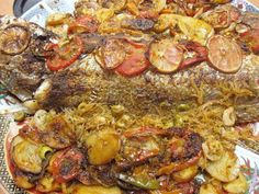 Moroccan Baked Stuffed Fish Recipe with Shrimp, Olives and Rice Vermicelli