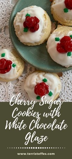 Use a simple sugar cookie mix, add cherry flavoring and then dunk in melted white chocolate.  Simple and delicious. #valentinecookies #cherrycookies #maraschinocherryflowers