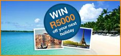 Stand a chance to win R5000 off your next holiday at amazingholidays.co.za. Simply like our Facebook page, enter in a few details and share it with your friends to receive extra entries. The winner will be announced on our Facebook page and via email on 09th July 2014. Good luck!  Click Here: http://woobox.com/23cdpr