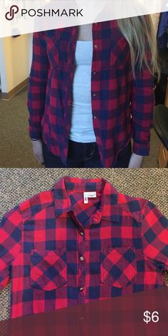 Soft red & navy flannel Super soft, super cute flannel! Perfect for winter. Bright red and navy plaid is a classic look with many outfits! Size medium but is a bit tight on my arms so it fits like a small. Passport Tops Button Down Shirts